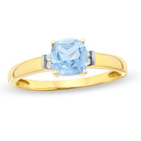 6.0mm Cushion-Cut Lab-Created Aquamarine and Diamond Accent Ring in 10K Gold - View All Rings - Zales