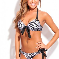 BLACK WHITE ZEBRA PRINT TWO PIECE BIKINI SWIMSUIT