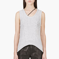 GREY OPEN KNIT TANK TOP