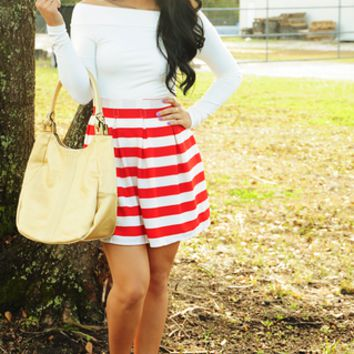 Setting My Sail Skirt: Red/White | Hope's