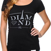 Diamond Supply Co Women's Paris Black Scoop Neck Tee Shirt