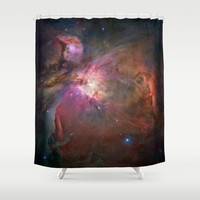 Bright nebula stars pink galaxy geeky hipster cool Nasa nebulae space photograph Shower Curtain by iGallery