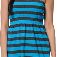 Empyre Neon Blue & Charcoal Stripe Strapless Dress