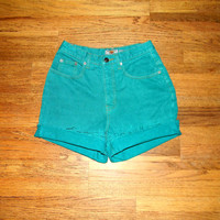 Vintage Denim Cut Offs - Vintage 80s Bright TEAL Green Jean Shorts - High Waisted/Frayed/Rolled Up THE LIMITED Short Shorts - Size 5/6