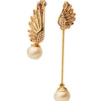 New Luxury Gold Wings Pearl Irregular Punk Rock Ear Stud Earrings Unique Jewelry