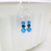 Small Blue Crystal Earrings