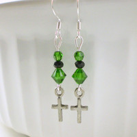 Green Cross Earrings