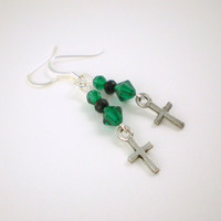 Emerald Green Cross Earrings