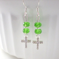 Light Green Cross Earrings