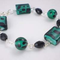 Teal Black Wire Bracelet