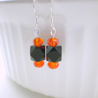 Black Orange Geometric Earrings