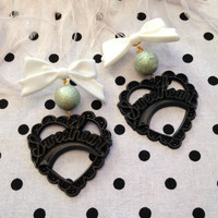 Black, Glittery Minty, and White Sweetheart Earrings