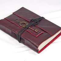 Deep Cherry Red Leather Journal with Key Bookmark