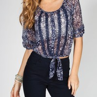 Full Tilt Womens Tie Front Pesant Top Navy  In Sizes