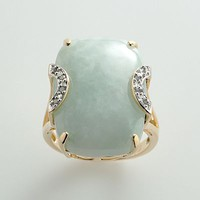 18k Gold Over Silver Jade & Diamond Accent Ring