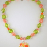 Bright Green Orange Flower Necklace, Flower Necklace, Orange Necklace, Green Necklace, Orange Green Necklace, Bright Orange Necklace