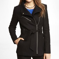 WOOL BLEND MOTO DETAIL COAT