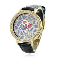 Leopard Print Rhinestone Quartz Watch