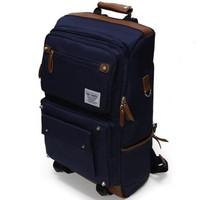 Navy square canvas laptop backpack