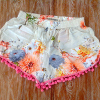 Pom Pom Shorts - Coral Blossom Print with Large Pink Pom Pom Trim - 1970s inspired high waisted gym shorts