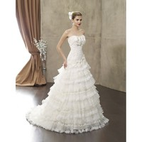 Taffeta and Lace Vintage Strapless A-line Floor Length Wedding Dress