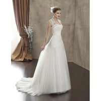 Taffeta and Net Gauze Vintage Sleeveless A-line Floor Length Wedding Dress