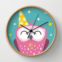Party Owl Wall Clock by Lisa Marie Robinson