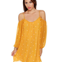 Cute Heart Print Dress - Yellow Dress - Cold Shoulder Dress - $37.00