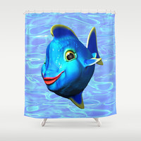 Cute Blue Fish Cartoon 3D Digital Art Shower Curtain by Bluedarkat Lem