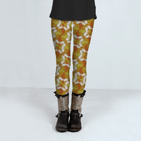 Deco Orange Pattern by Daniel Ferreira-Leites (Leggings)