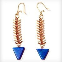 Fishbone and Turquoise Earrings