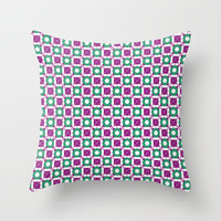 Circles and Square Pattern Throw Pillow by Danflcreativo