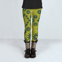 Cristal Shapes Floral Pattern by Daniel Ferreira-Leites (Leggings)