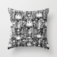 Victorian gothic lace skull pattern Throw Pillow by Kristy Patterson Design