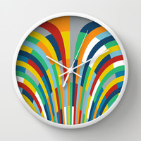 Rainbow Bricks #2 Wall Clock by Project M