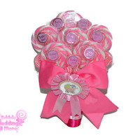 Baby Shower Lollipop Bouquet, Its a girl bouquet, candy bouquet, baby shower, baby girl, girl, bouquet, gift, pink, lollipop, candy, new mom