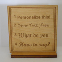 Personalized message your own plywood plaque engraved shabby chic made to order