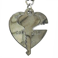 """Heart & Key"" Pendant by Gasoline Glamour (Gunmetal)"