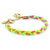 Ettika Neon Braided Satin Cord Gold Colored Single Peace Charm Bracelet 