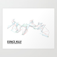 Espace Killy, Savoie, FRA - European Edition - Minimalist Trail Art Art Print by CircleSquareDiamond