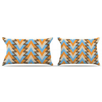 "Julia Grifol ""My Triangles in Blue"" Aqua Orange Pillow Case"