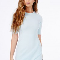 Missguided - Bonitta Origami Mini Dress In Baby Blue