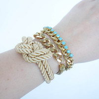 Spring Trends: Arm candy set - Turquoise rhinestone and Silk Bracelets