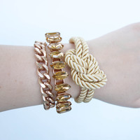 Spring Trends: Arm candy set - Rose Gold chunky chain and Silk Bracelets