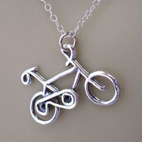 Bicycle Necklace sterling silver bike charm by WinterberryJewelry