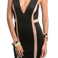 Black/Taupe Good for Life Bodycon Dress
