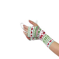 Fair Isle Gloves Fingerless Christmas Reindeer Red Green