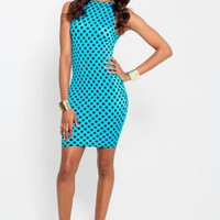 Bright Blue Polka-Dot Bodycon Dress