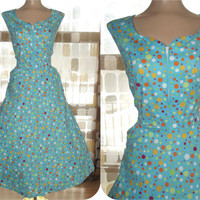 Vintage 80s Retro 50s Full Sweep Atomic Polka Dot Day Dress L/XL Rockabilly VLV