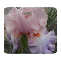 Pink and Purple Iris Glass Cutting Board